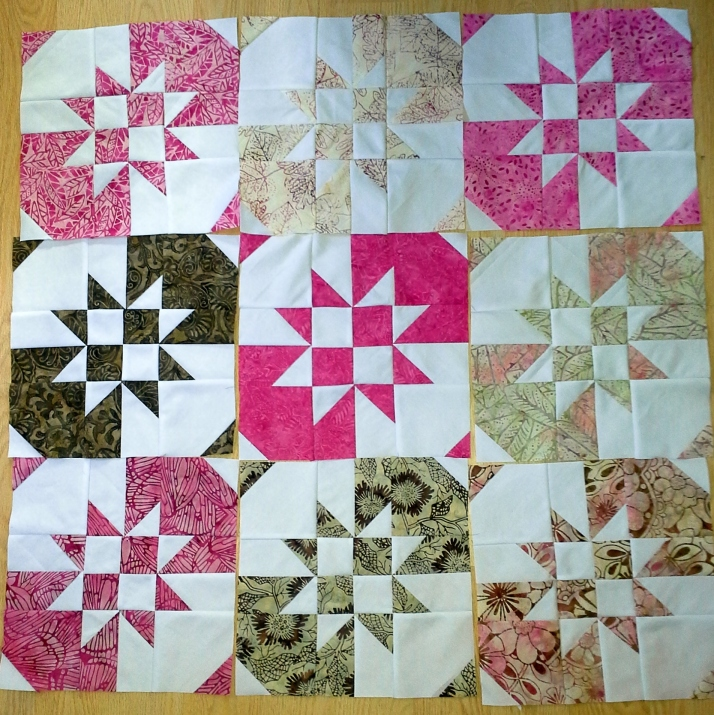 Disappearing pinwheels blocks
