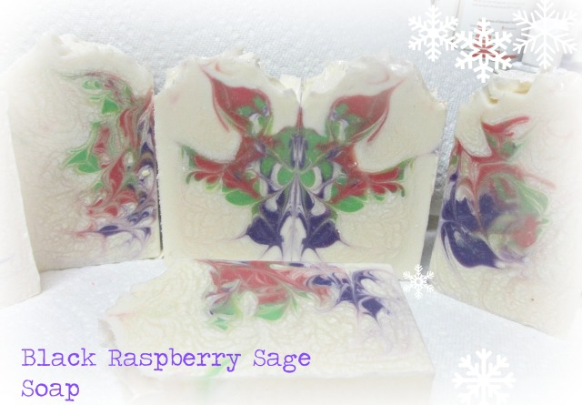 black raspberry sage soap just cut 11.25.14
